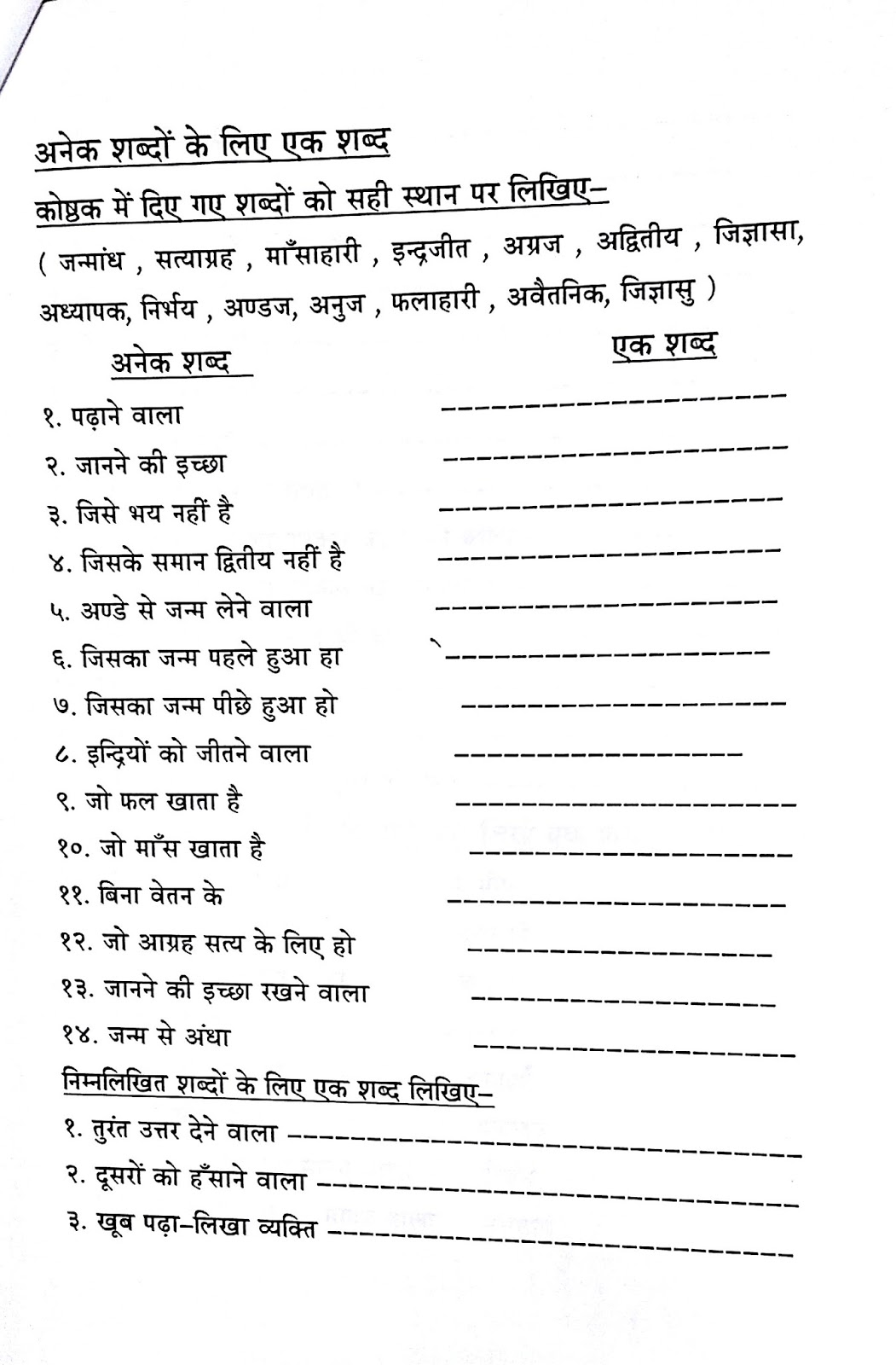 Hindi Worksheet Grade 6