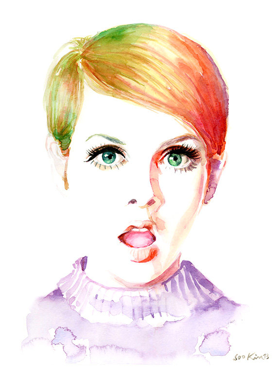 13-Twiggy-Model-60s-70s-Soo-Kim-Celebrity-Watercolor-Portraits-www-designstack-co