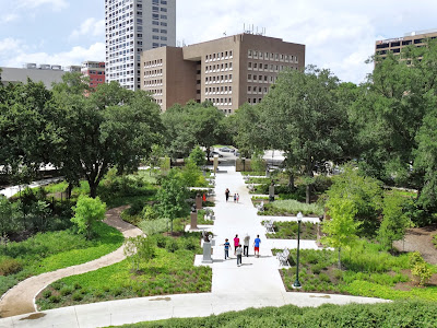 Sculpture Walk seen from the observation platform on the hill