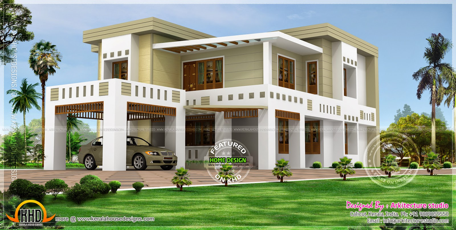 Flat roof house in 389 square yards kerala home design Home builders com