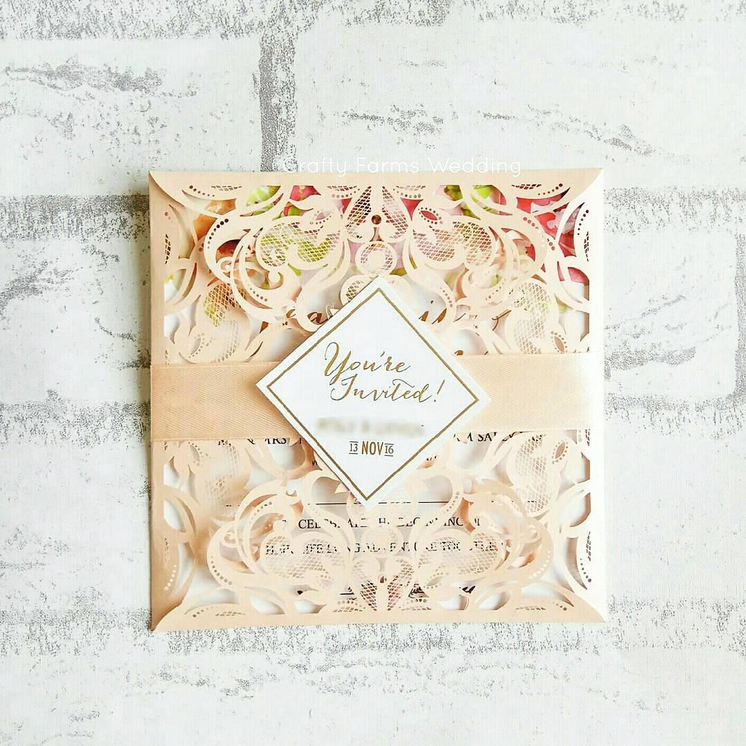Wedding Card Malaysia | Crafty Farms Handmade : Peach Petal Laser ...
