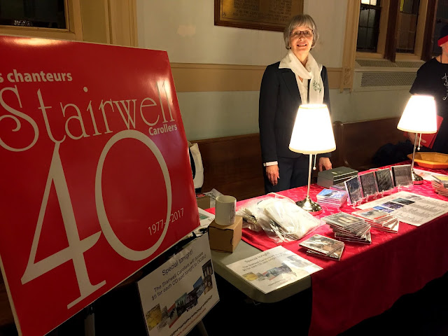 Our Front of house manager Michèle at the CD table at all our concerts