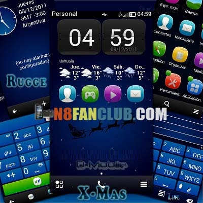 X-Mas Rugge - Blue Christmas Theme for Nokia N8 Free Download