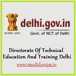 BTE Delhi Polytechnic Diploma Results 2016