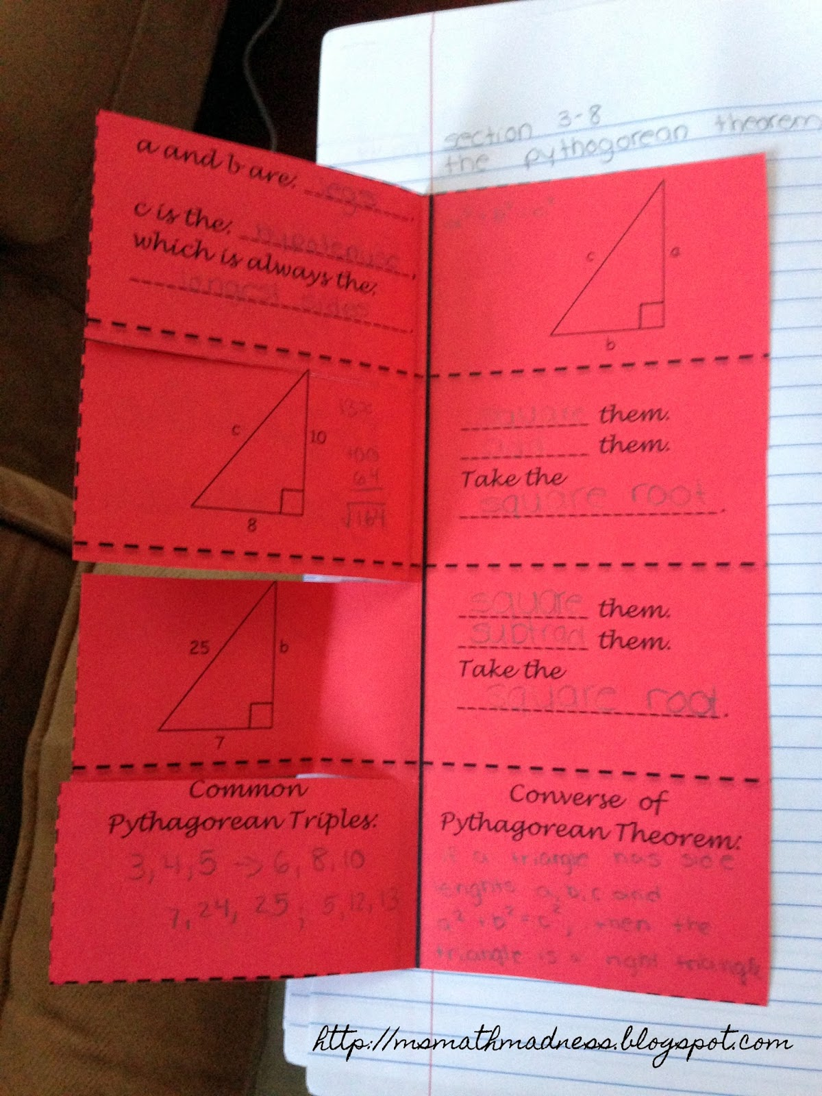 Middle School Math Madness Pythagorean Theorem Foldable