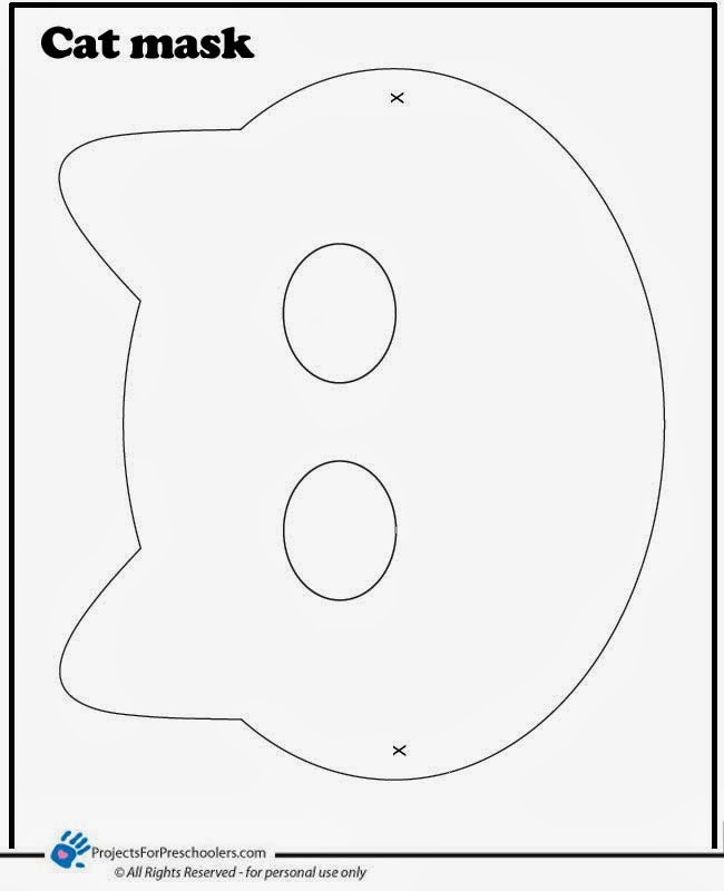 early play templates: 5 Printable Halloween cat masks to make
