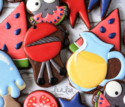 Decorated grill sugar cookies with a video tutorial
