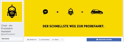 Opel-Chatbot Chad will Probefahrten vermitteln.