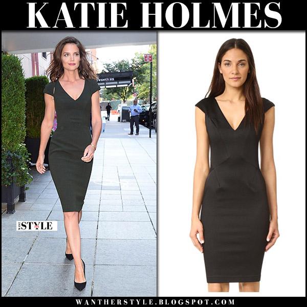 Katie Holmes in black cocktail dress zac posen september 7 2017
