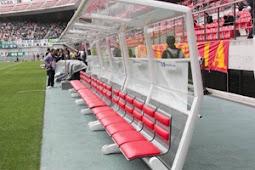 豊田スタジアムにサッカーワールドカップブラジル大会競技用ベンチ