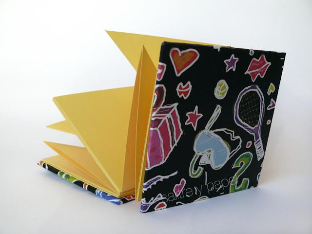cuaderno pétalo, encuadernación artesanal