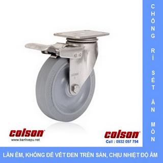 Bánh xe cao su càng bánh xe đẩy hàng inox | 2-5456-444-BRK4 | banhxepu.net