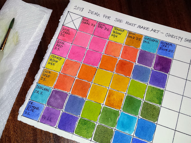 The color mixing grid is completed.