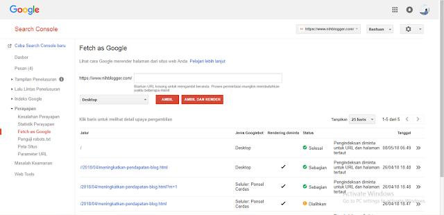 menggunakan fetch as google tidak membantu menaikan ranking sebuah blog, hanya membantu untuk mengcrawl dan mengindex