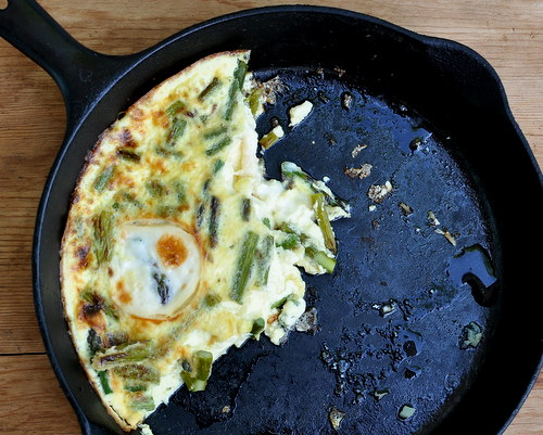 Never-the-Same-Twice Frittata, a new Master Recipe mixing a soft and silky quiche-like custard with fresh or leftover vegetables and pockets of warm cheese ~ Low-carb, low-cal, high-protein, Weight Watchers Points Plus 4 to 6 ~ KitchenParade.com