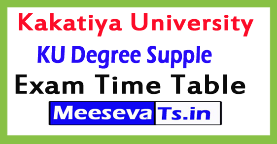 Kakatiya University Degree Supply Exam Time Table