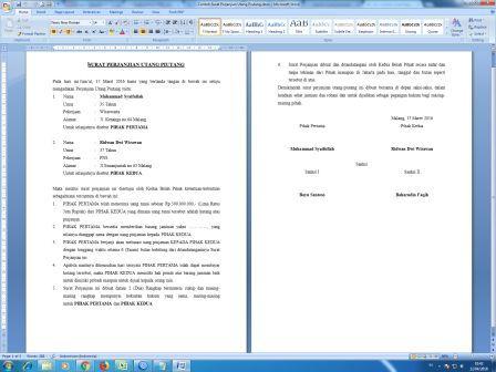 Contoh Surat Perjanjian Utang Piutang Arsip Kantor