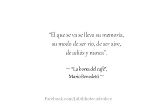 """""""El que se va se lleva su memoria, su modo de ser río, de ser aire, de adiós y nunca."""" Mario Benedetti - La borra del café"""