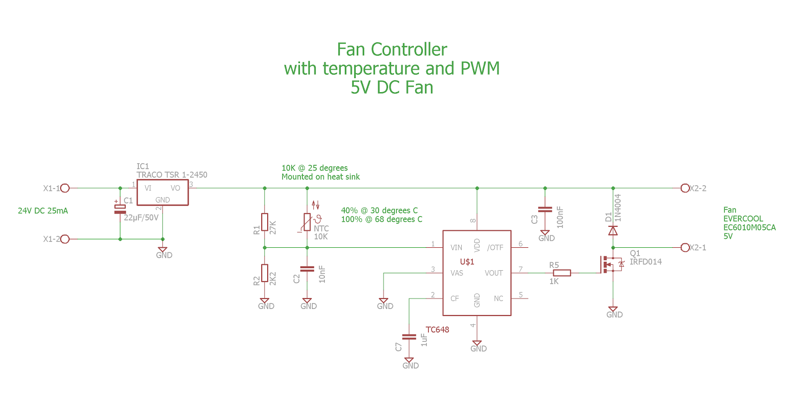 small resolution of  the 5v dc fan i used an excel spreadsheet that is available on the microchip website to calculate the resistors r1 and r2 to get the best starting