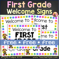 Free first grade welcome posters