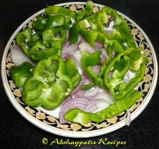 chopped onion sand capsicums