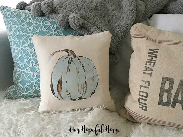 blue pumpkin pillow iron-on transfer no-sew