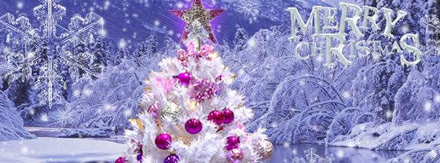 Merry Christmas Snow tree fb cover