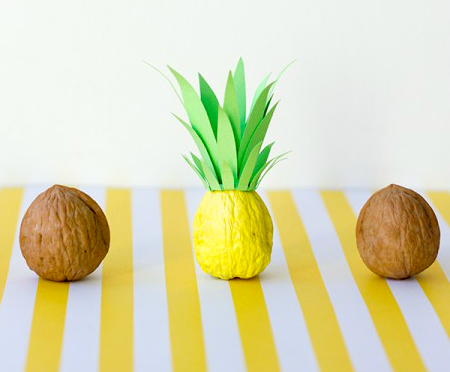 Mini Pineapples Tropical Table Decor Craft Idea