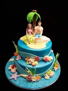 Ocean Hawaiian Wedding Cake Toppers