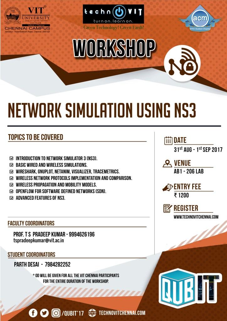 Network Simulators: Workshop on NS3 at VIT Chennai