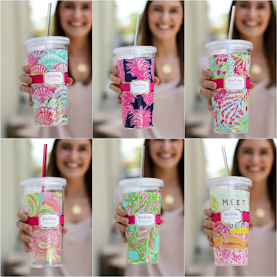 Six juxtaposed photos of women holding Lilly Pulitzer beverage tumblers.