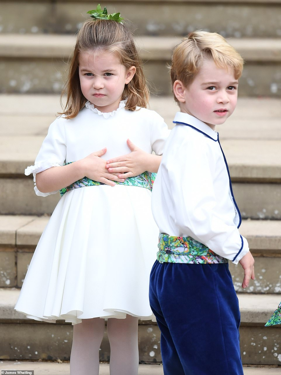 Princess Charlotte and Prince George were in the wedding   Cute little scene stealers