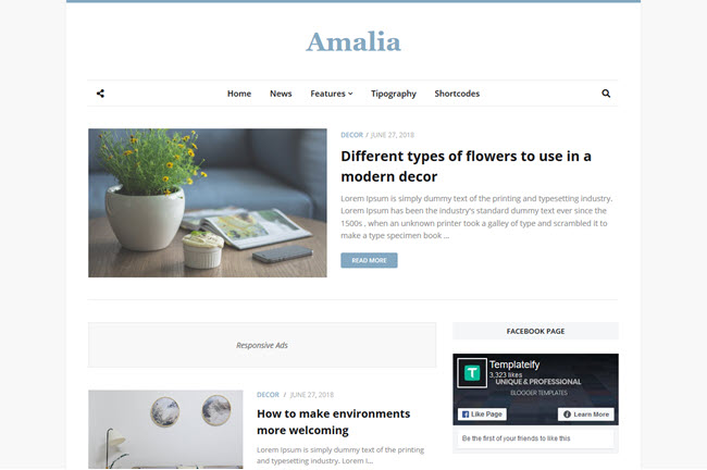 Amalia - Responsive Beauty Blogger Template