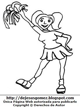 Imagen de mujer joven haciendo porras para colorear pintar imprimir. Dibujo de mujer de Jesus Gómez