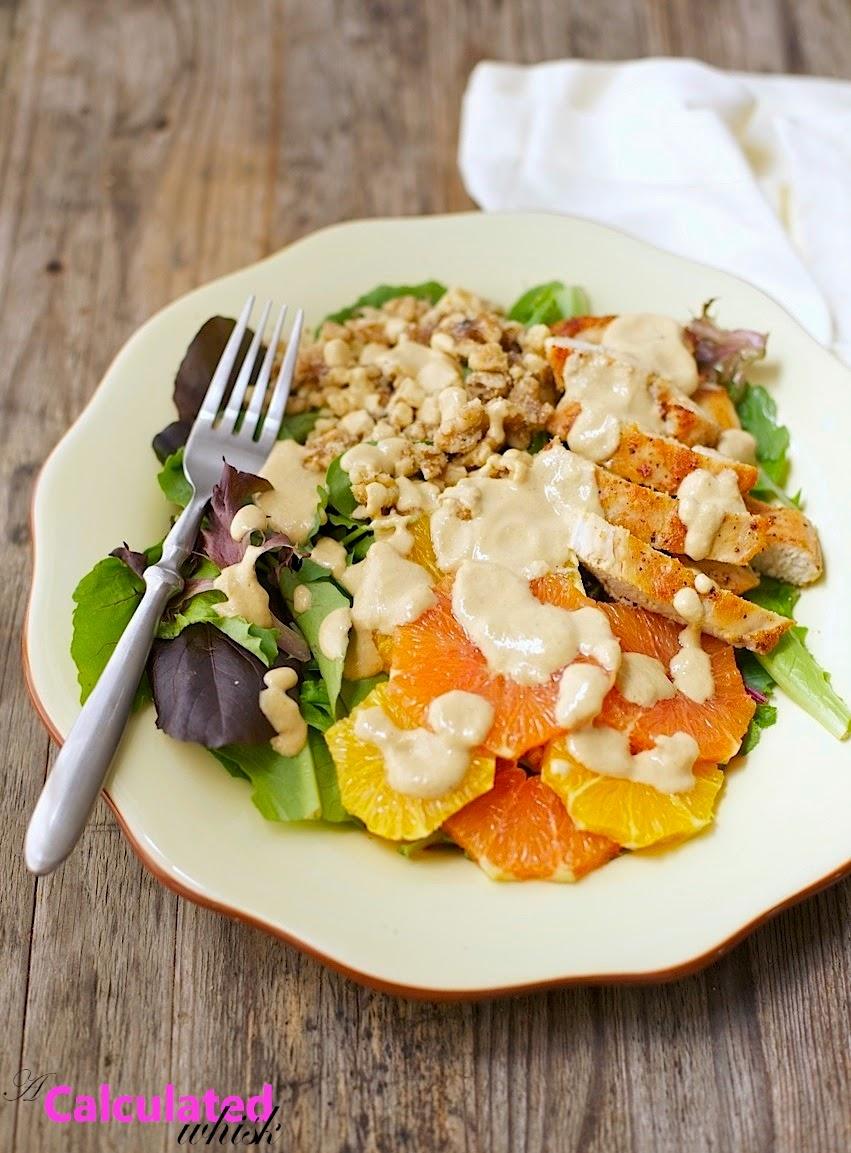 Pan Seared Chicken Orange Amp Walnut Salad A Calculated