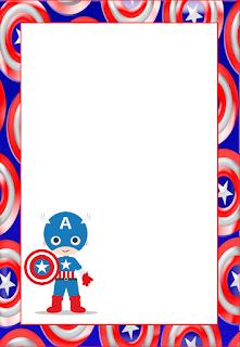 Marcos, Invitaciones, Tarjetas o Etiquetas del Capitán América para Imprimir Gratis.