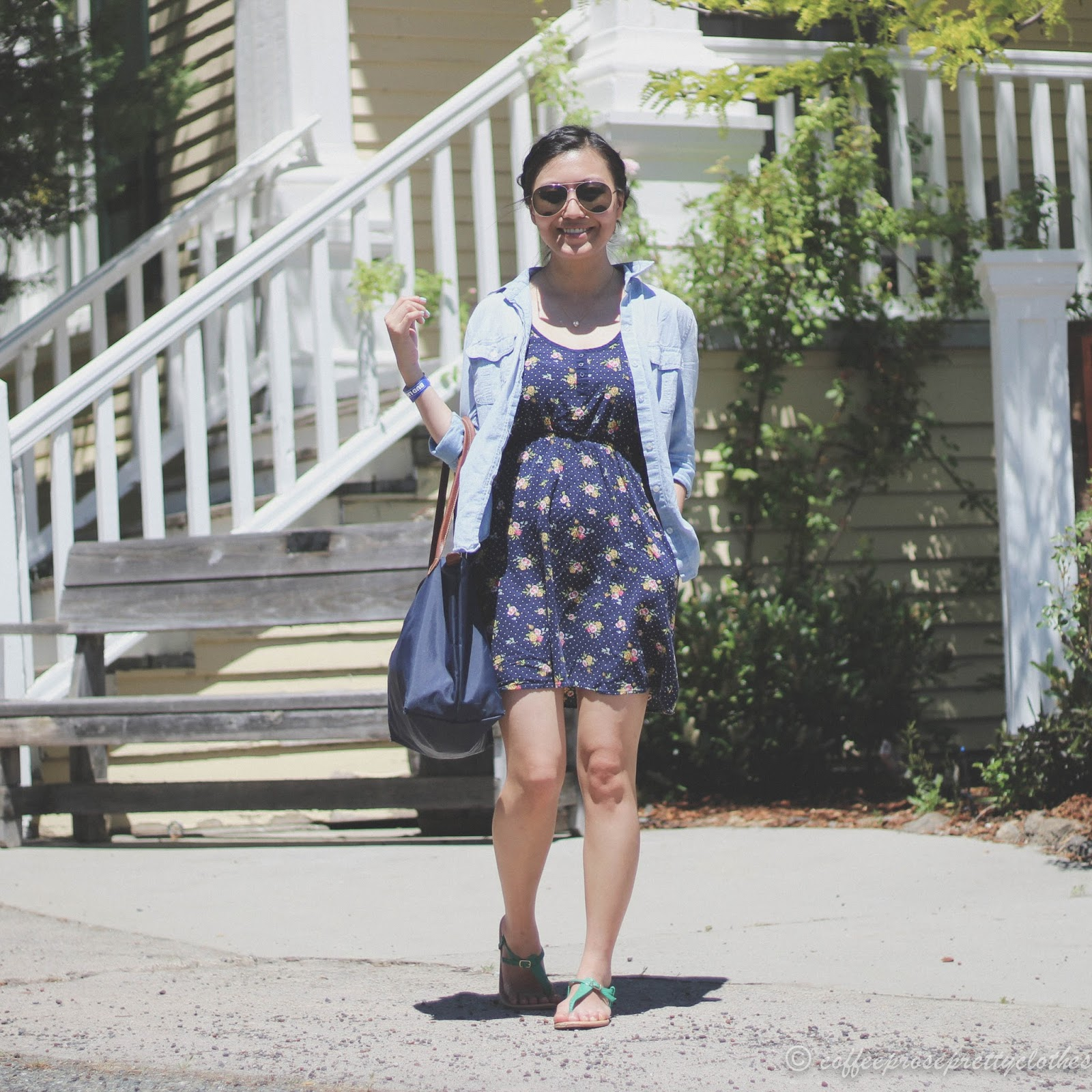 Floral Dress with Chambray Shirt
