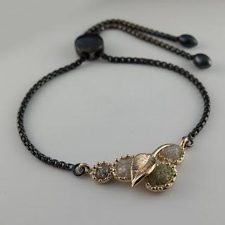 Raw Diamond Bracelet, Black Chain Bracelet, Leaf Bracelet, Dawn Vertrees,