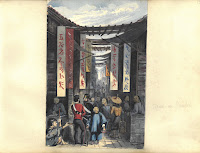 A water color painting of a street scene in Canton