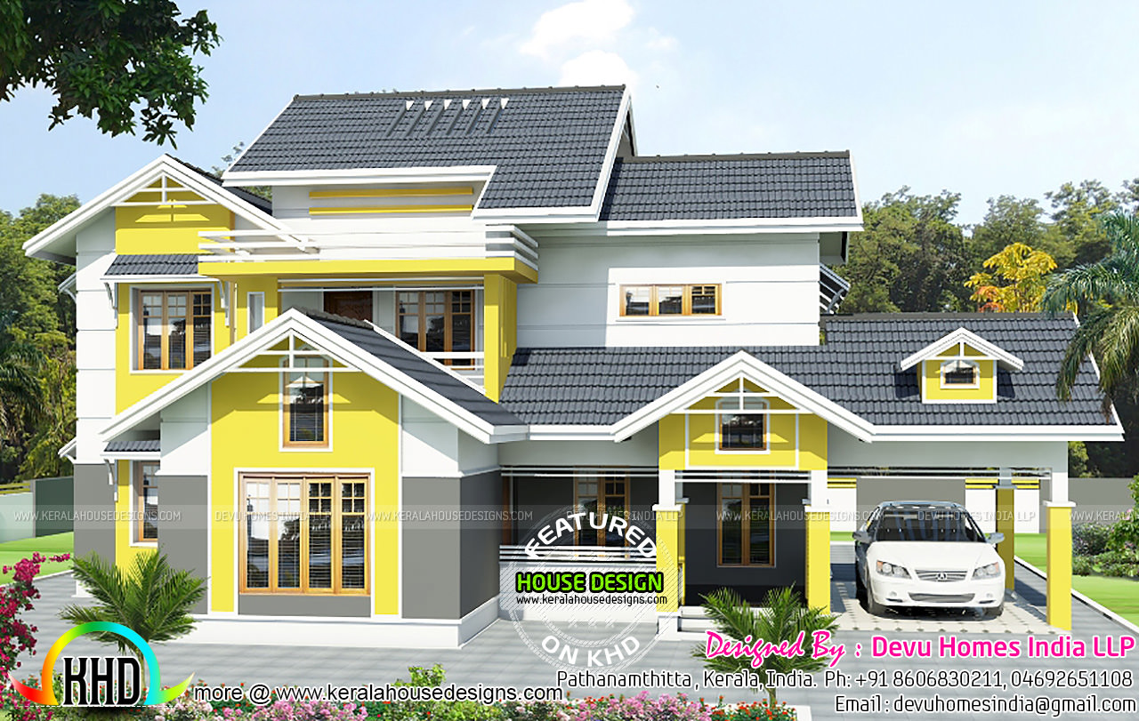 Beautiful house by devu homes india kerala home design for Beautiful kerala home design