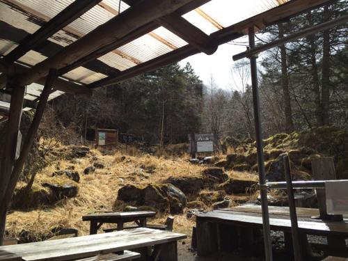 赤岳鉱泉へ行く北沢、行者小屋へ行く南沢の分岐点