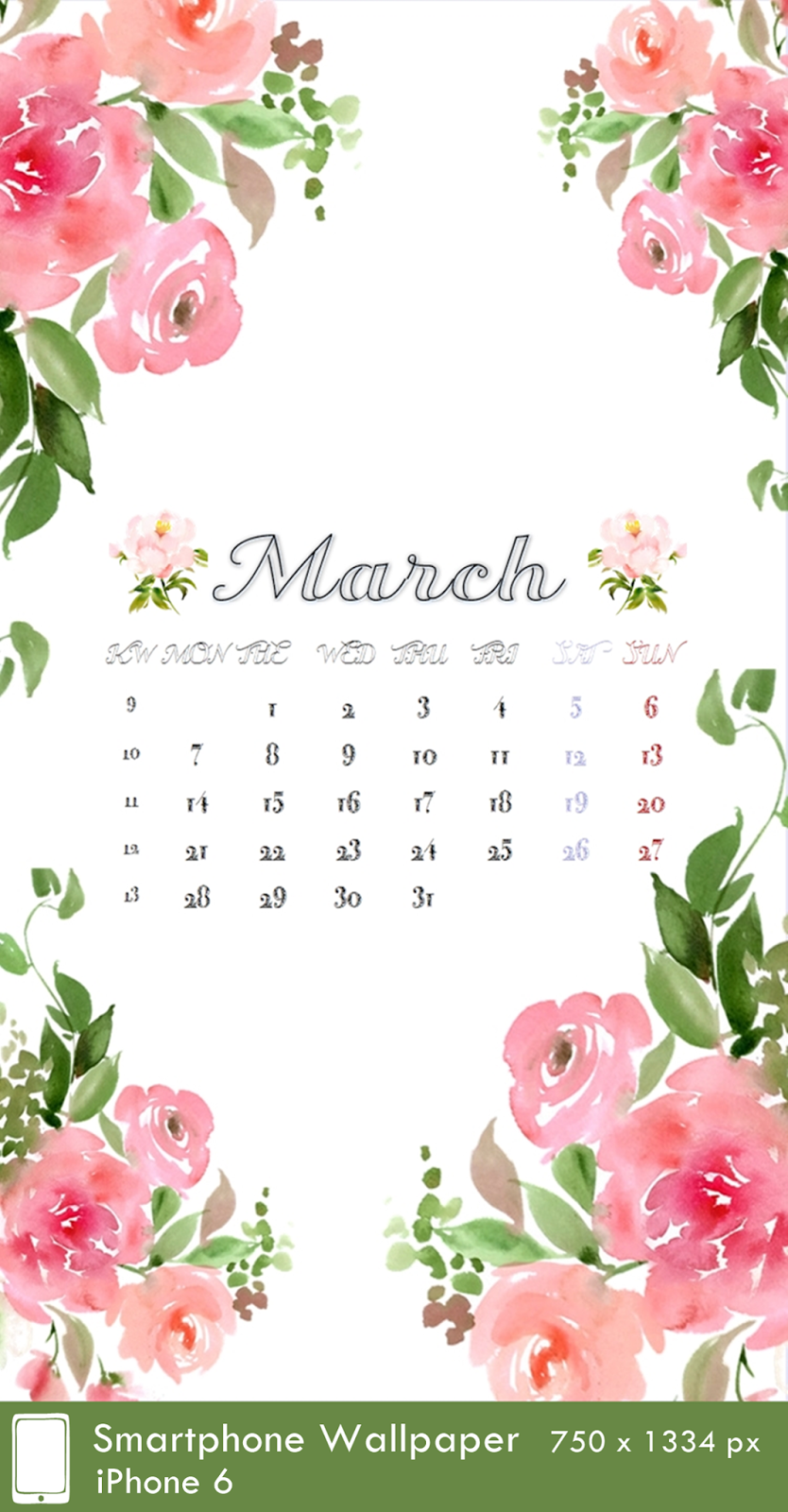 iPhone 6 Wallpaper 750 x 1334px Calendar 3 March 2016