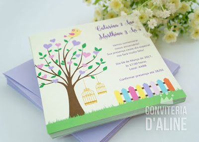 convite festa passarinhos lilás