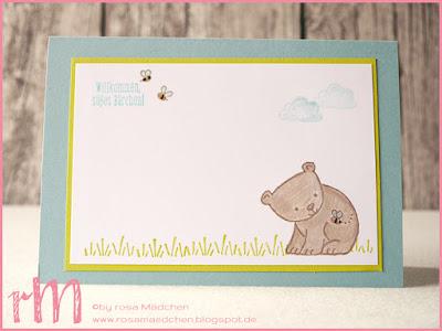 Stampin' Up! rosa Mädchen Kulmbach: Babykarte mit Tierische Glückwünsche
