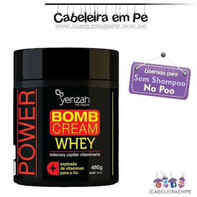 Máscara para Reconstrução Whey Bomb Cream - Yenzah liberada para Low Poo (Shampoo Leve) - Explosão de vitaminas para o fio.