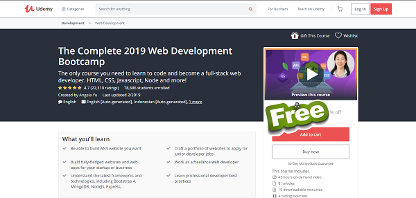 The Complete 2019 Web Development Bootcamp Free Download