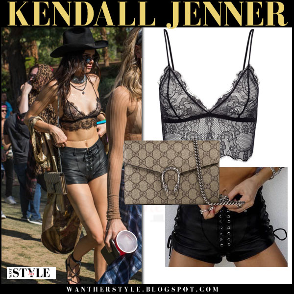 Kendall Jenner in black lace bralet anine bing top and black shorts what she wore coachella festival 2016