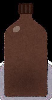 空の試薬瓶のイラスト2(茶色)
