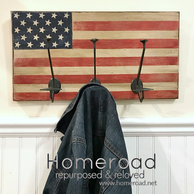 Rustic American Flag with Large Hooks
