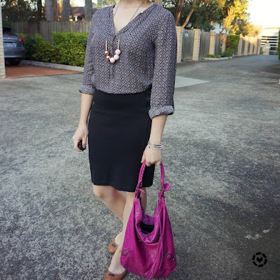 awayfromblue instagram | shift dress layered under pencil skirt easy office outfit with pink Balenciaga bag